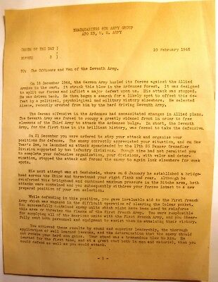 WWII 7th Army Battle of the Bulge Related Document