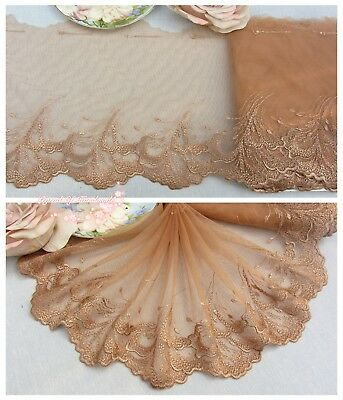 "7""*1Y Embroidered Floral Tulle Lace Trim~Deep Tan+Metallic Gold~The Wind Solo~"