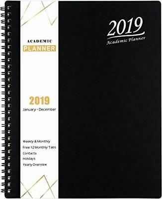 2019 Planner - Weekly & Monthly Planner 2019, Flexible Cover, 12 Monthly Tabs, T