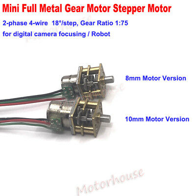 DC 5V 2-phase 4-wire 8-10mm Metal Gear Stepper Motor Precision Gearbox Robot Car