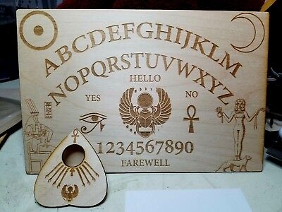 Wooden Ouija Board & Planchette w/ Ancient Egyptian Symbols Engraved On Wood