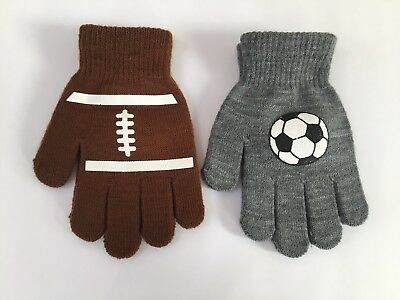 Kids Winter Gloves Knitted Stretchy Soccer Football Gray Brown Brand New 2X