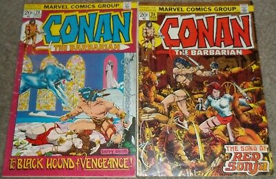 Vintage Conan the Barbarian #20 24 Marvel comic book lot Barry Smith Red Sonja