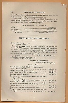 1876 railroad report WILMINGTON & WESTERN RR Delaware to Oxford PA Chester COunt