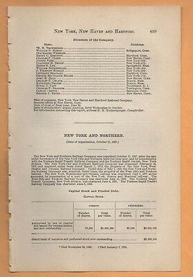 1893 NEW YORK & NORTHERN RAILROAD report Yonkers Mahopac Falls mines NY train