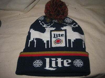 cd5af2289 MILLER LITE - Winter Knit Hat - Holiday Pom Beanie (beer) - $10.77 ...