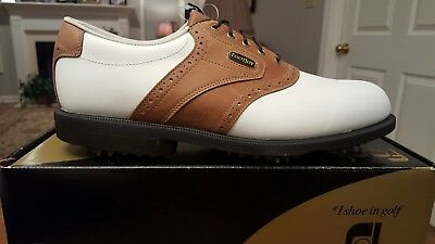 2012 Footjoy Dryjoys ECL/Optiflex Mens Golf Shoes 53661 NEW Wh/Tan 11M W/Defect