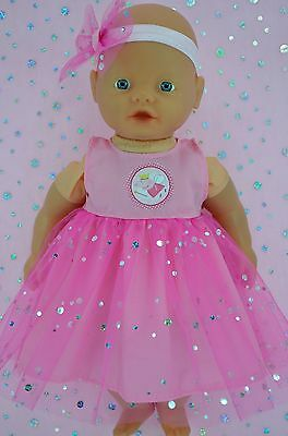 """Play n Wear Doll Clothes For 13"""" My Little Baby Born PINK SEQUIN DRESS~HEADBAND"""