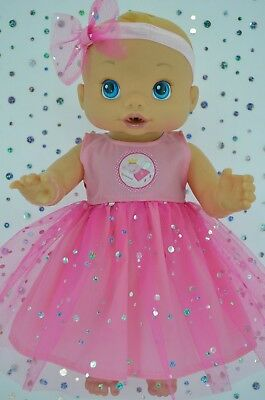"""Play n Wear Doll Clothes To Fit 13"""" Baby Alive PINK SEQUIN DRESS~HEADBAND"""