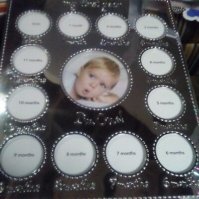 """NEW  Carter's My First Year Silver Photo Frame """"I'm One"""" Holds 13 Pictures"""