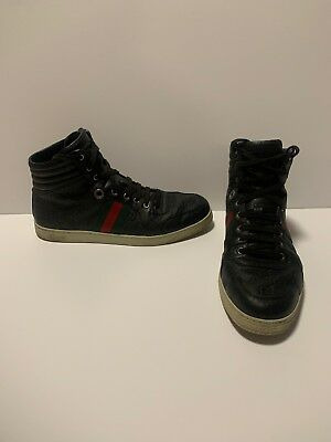1eab2ee0c Gucci High Top #221825 Wedstripe Leather Shoes Men Size 10-1/2 10.5