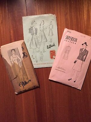 Lot Of 3 1940s Vintage Womens Patterns
