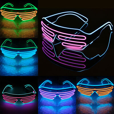 LED Glow EL Glasses Shades Light Up Flashing Sunglasses Bar Party Rave Christmas