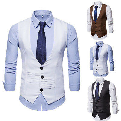 Gentleman's Formal Business Tops Vest Wedding Suit  Tuxedo Waistcoat Coat