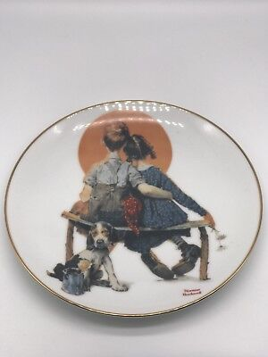 Norman Rockwell Puppy Love Devorative Plate From The Young Love Collection