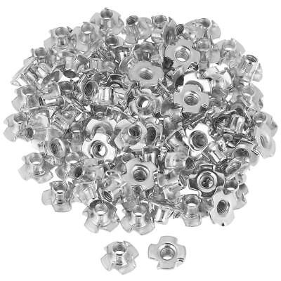 100x Zinc Plated Carbon Steel T Nut Four-Pronged Tee Nuts Woodworking Furniture