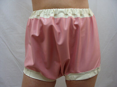 Latex Windelhose Gummi Adult-Baby Art.0051 rosa-weiß 0,33mm 100% Latex Gr. M