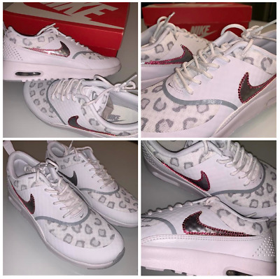 outlet store 38009 ec392 Womens NIKE Air Max Thea BLING PINK Shoes Leopard Shoes NEW White Gray SIZE  7