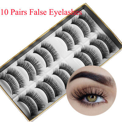10 Pairs 3D Sik Fiber False Eyelashes Crossed Long Natural Long Thick Handmade