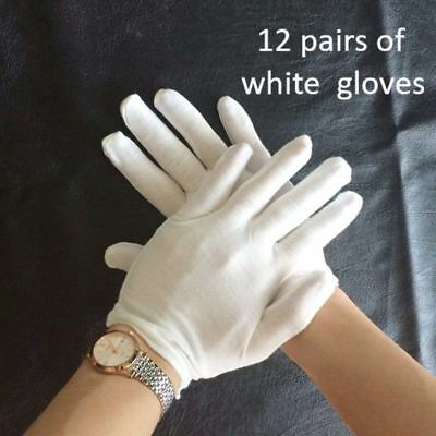 12 Pair White Cotton Gloves Elastic Health Rite Work Hand Protect Lovely