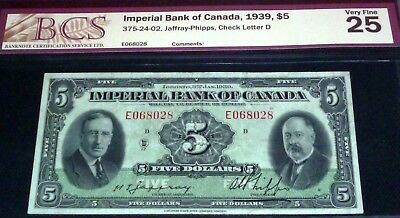 1939 Imperial Bank Of Canada $5   - Canada Chartered Banknote