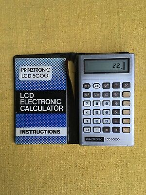 Vintage Prinztronic LCD 5000 Calculator working order with instructions, Rare