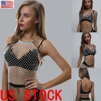 US Women Fashion Sexy Shiny Crystal Tank Top Sleeveless Transparent Crop Tops