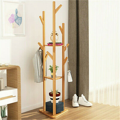 Natural Bamboo Coat Rack Stand Clothes Hanger Hat Jacket Bag Umbrella Scarf Hook