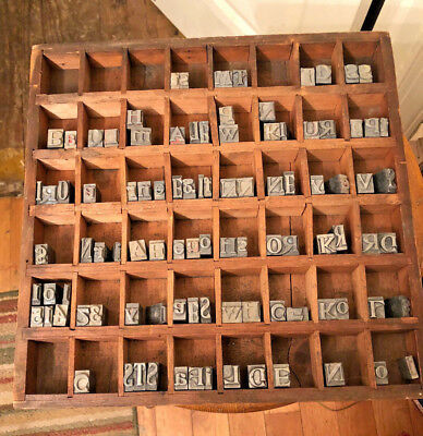 Antique Lead Printing Press Numbers & Letters & Original Wood Tray 97 Total