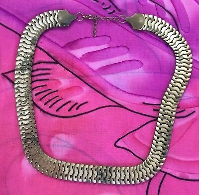 Vintage Antique Chunky Gold Chain Mesh Collar Necklace Estate Find Vtg Retro