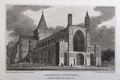 1806 Antique Print; Rochester Cathedral, Kent after Schnebbelie