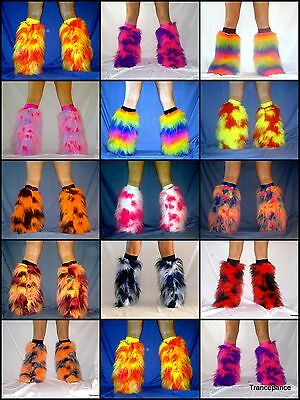 Neon Fluffy Legwarmers Leg Warmers Boot Covers Rave Fluffies