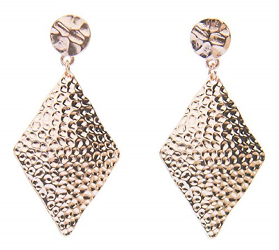 Blush & Co. Rose Gold Earrings: Hammered Dangle earings for Women Fashion