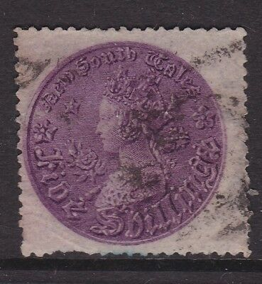 """NSW FINE 1861 1/- PURPLE QV """"COIN"""" STAMP P 13  LIGHT USED SG 174a ( GM37 )"""