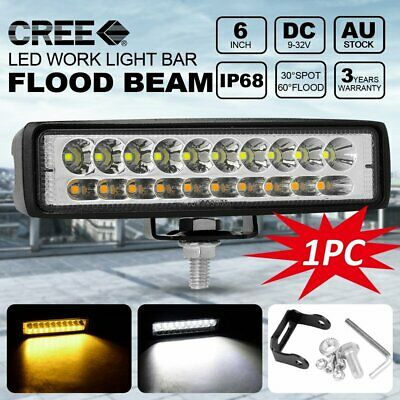 6 inch 60W 20LED 12V Work Light COMBO Beam Driving Fog Lamp Bar Car SUV Off-road
