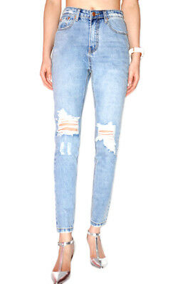 WAKEE LIGHT BLUE HIGH RISE JEANS WITH FADE DETAIL AND RIPPED KNEE SIZE 6-16