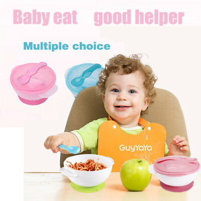 US Baby Kids Suction Cup Bowl Feeding Tableware Sucker Bowl Set Food Bowl Dishes
