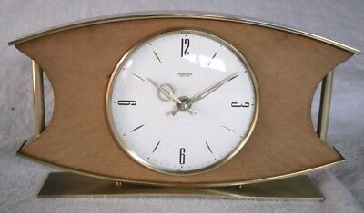 Vintage 1950-60s 'TEMPORA': Rare Battery Brass & Wooden Mantle Clock, Restored.