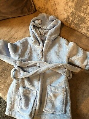 My 1st Years Blue Little Brother Baby Boys Dressing Gown With Hood 0-6 Months