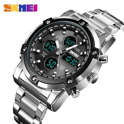 SKMEI Mens Digital Watch Fashion Sports Countdown Stainless Steel Men Wristwatch