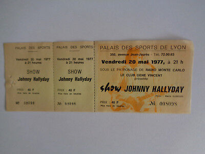 Johnny Hallyday Ticket Billet Place De Concert