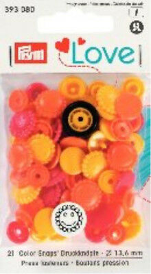 PRYM LOVE SNAPS PRESS FASTENERS - 13.6mm – 21 SETS RED,YELLOW  & ORANGE FLOWERS