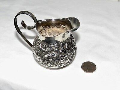 """BEAUTIFUL INDIAN SILVER CREAM JUG, 3"""" HIGH, 79.8gms, VERY GOOD CONDITION"""