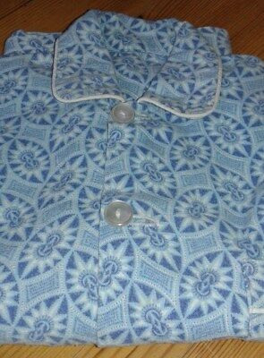 PYJAMA TOP Wincyette Blue Classic style 4-button Long Sleeve Top pocket Piping