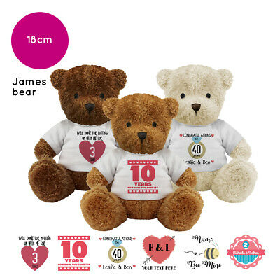 Personalised Name Anniversary Valentines Present James Teddy Bear Soft Toy Gift