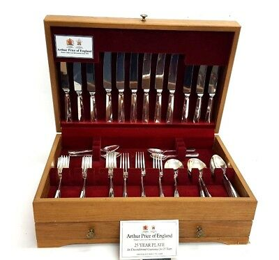 56 Piece Arthur Price of England Silver Plated EPNS Cutlery Set in Box  (D567)
