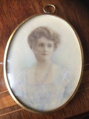 Antique hand painted water colour portrait miniature on celluloid of a lady.