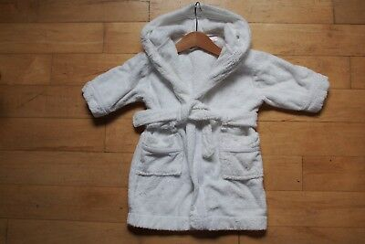 John Lewis white cotton dressing gown 9-12 months