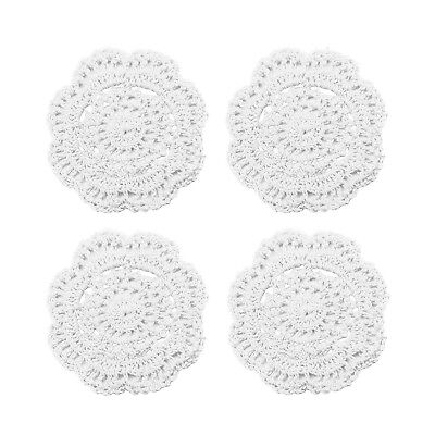 Lace Round Crochet Doilies Handmade Coasters, 4-Inch, Pack of 4 (White)