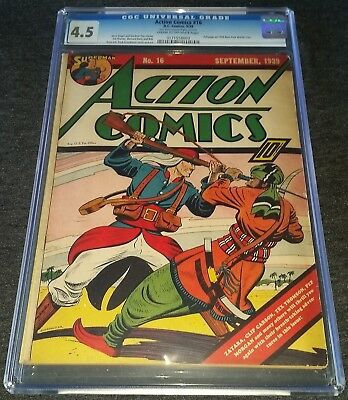 Action Comics Issue 16 Sep 1939 |  Cgc 4.5 Vg+ | Golden-Age |  Early Superman